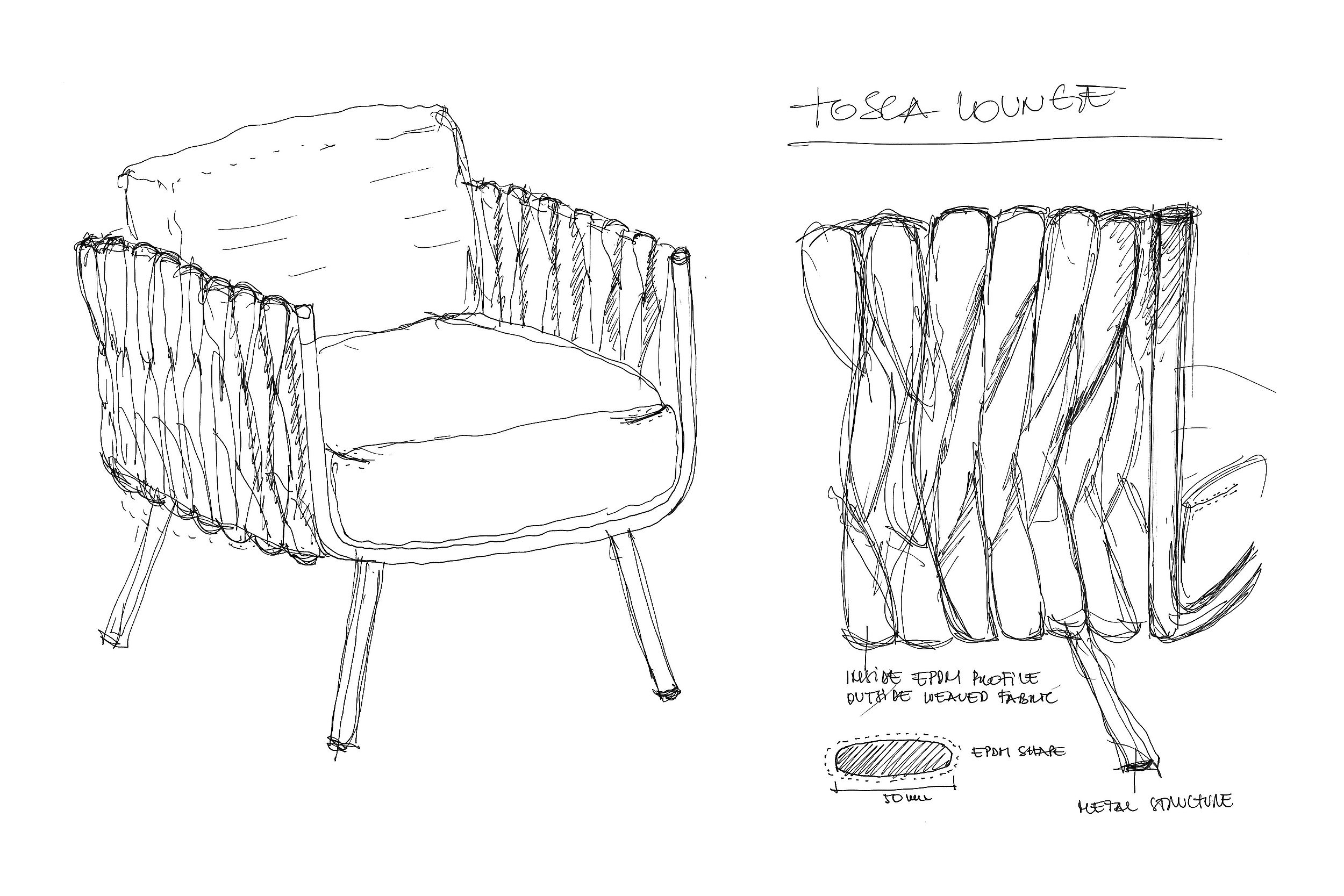 Tosca club chair - Sketch - Monica Armani for Tribù