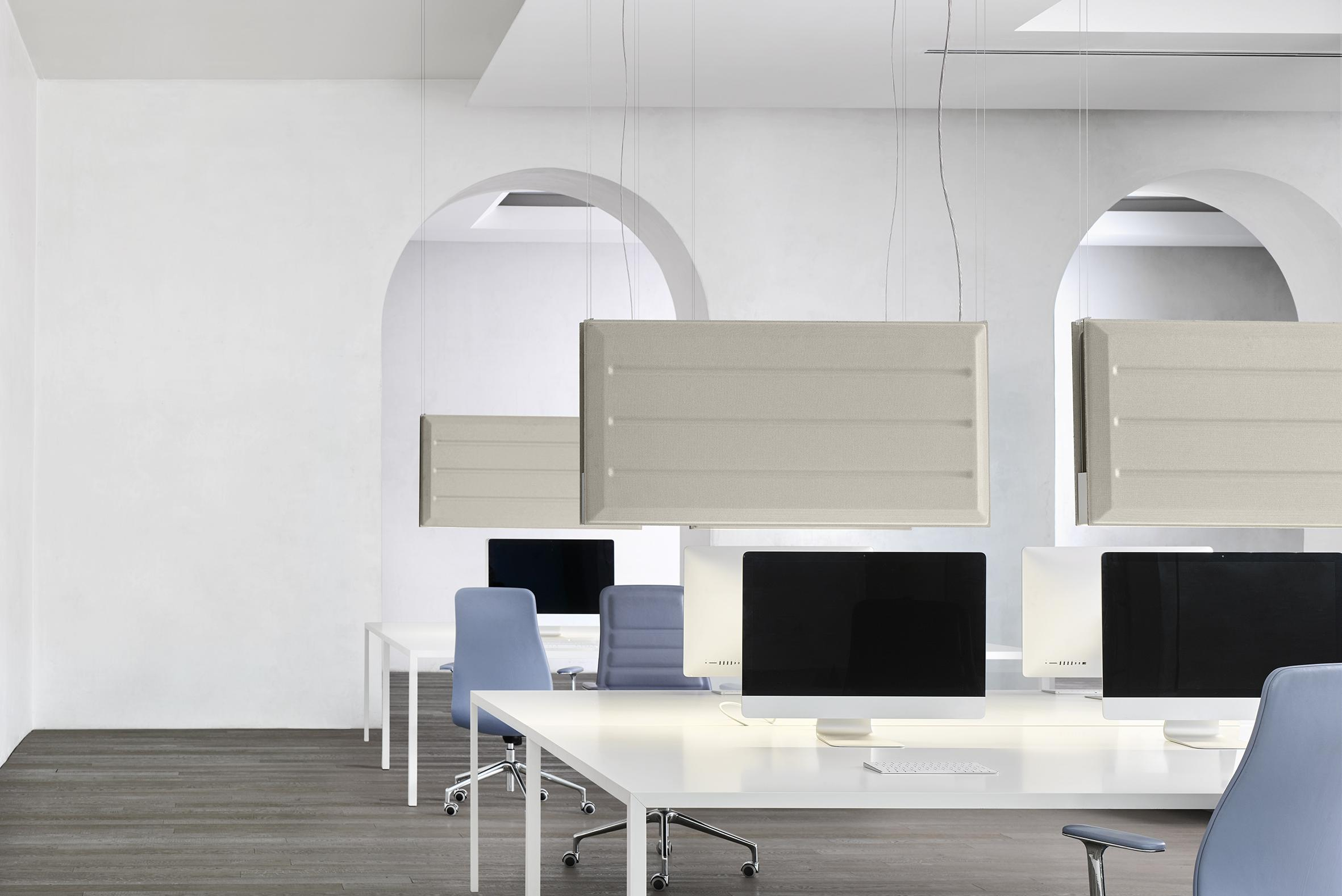 Diade lighting and sound absorption system by Monica Armani for Luceplan