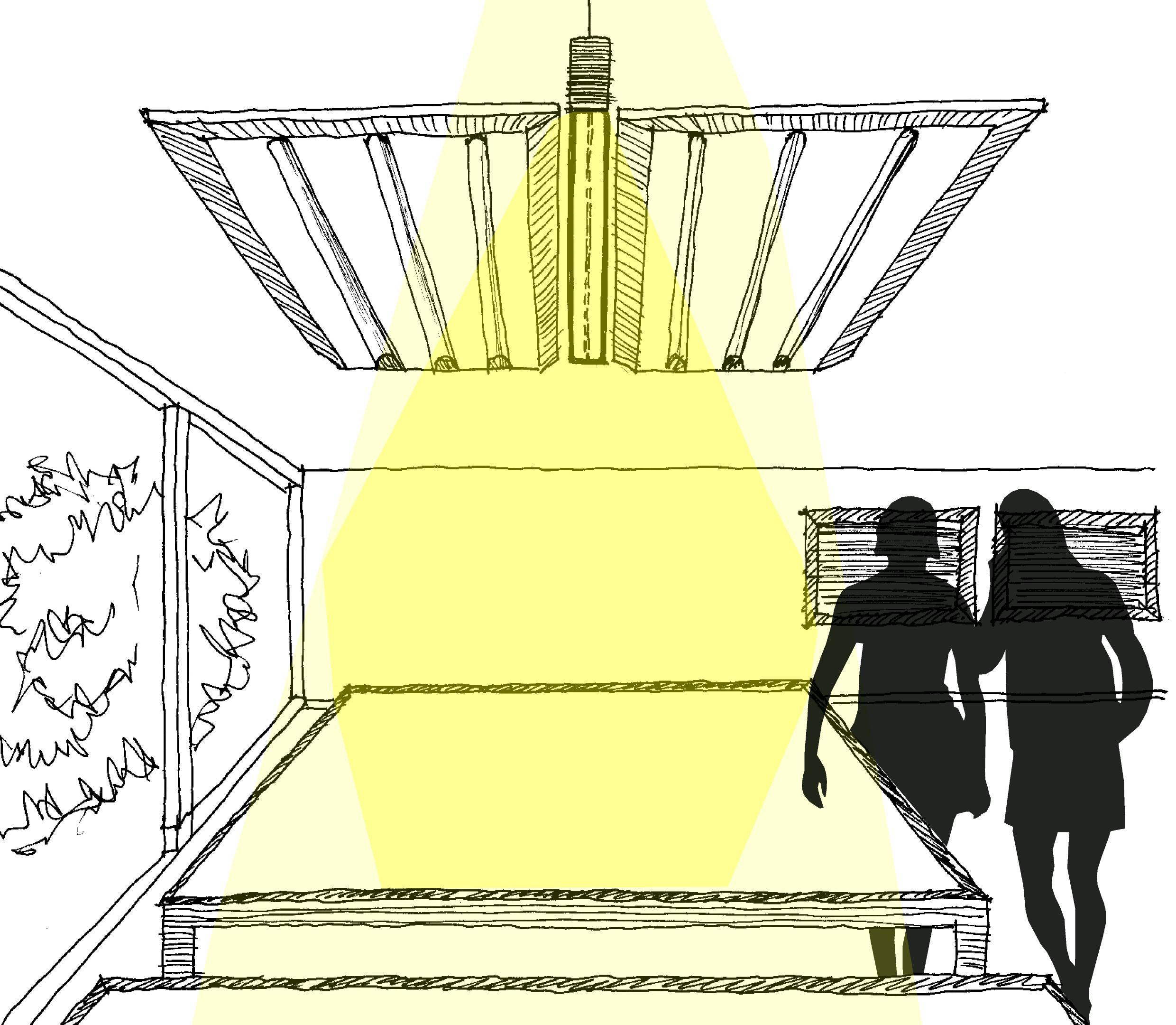 Diade lighting and sound absorption system - Sketch - Monica Armani for Luceplan